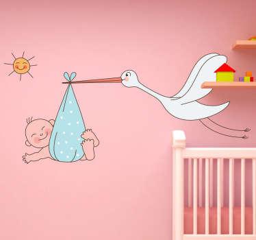 Stork Carrying Baby Kids Sticker