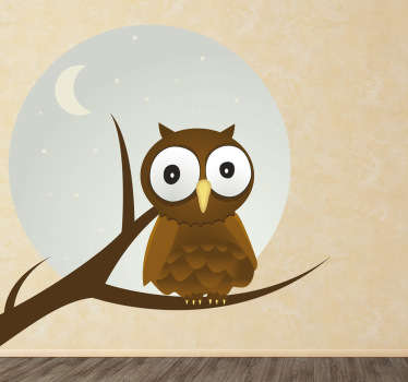 A small owl with big eyes during a full moon! This design is from our exclusive owl wall stickers is deal for your child's bedroom.