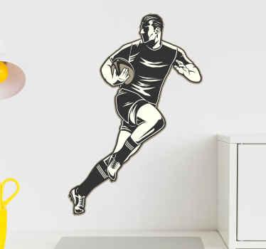 Denna fantastiska rugbyfönster klistermärke är ett måste för din tonåring rum! Vänta inte längre och beställ din nya sportklistermärke idag!