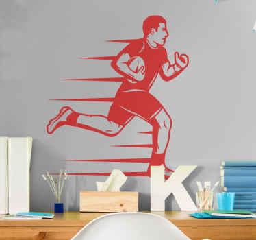 är din son en sportig kille? Eller kanske din dotter? Då är detta den rugbyväggklistermärke du letar efter! Beställ din nya hemklistermärke idag!