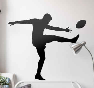 Rugbyspelare sparkar boll siluett klistermärke för att dekorera något utrymme. Färgen är anpassningsbar, den är självhäftande, skrynkelsäker och hållbar.