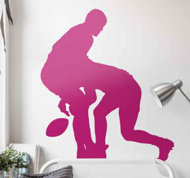 Decorative rugby vinyl decal to customize a bedroom or any space as a fan or lover of rugby. It illustrates two Rugby player tackling each other.
