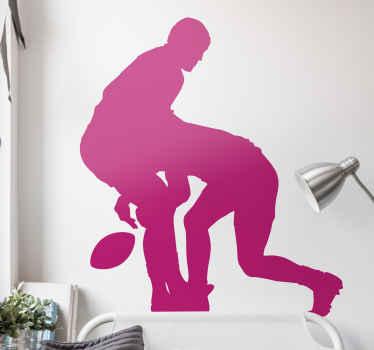 Dekorativ vinyl vinyl-dekal för att anpassa ett sovrum eller något utrymme som en fan eller rugby älskare. Det illustrerar två rugbyspelare som tacklar varandra.