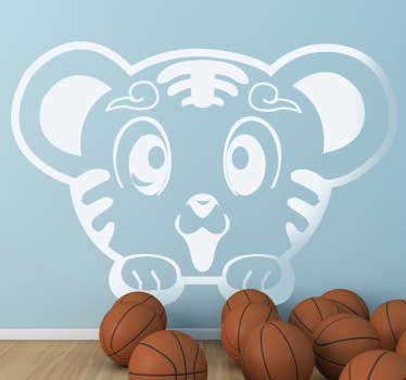 Kids Wall Stickers - Playful and fun illustration of a cute tiger cub. Ideal for kids. Available in various sizes.