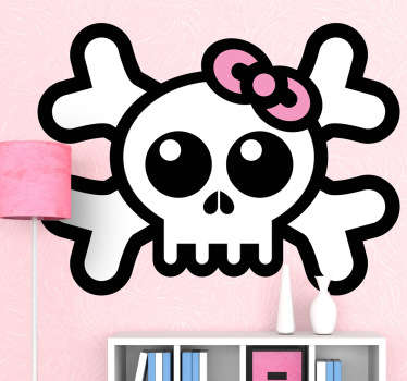 A great skull wall sticker illustrating a cartoonish design of a skull with a pink hair bow for a girl's bedroom. A great kids decal to decorate those empty spaces in their room with a fun design that will surprise everyone.