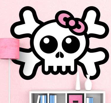 Naklejka na ścianę dla dzieci czaszka ze wstążką