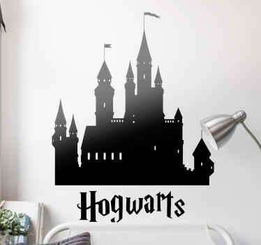 Naljepnica harry potter koja sadrži siluetu hogwartsove škole čaranja i čaranja, škola harry potter pohađa u filmovima!