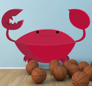 A fun kids wall sticker for the little ones illustrating a happy crab with sharp claws! This crab decal is perfect for those that love the sea!