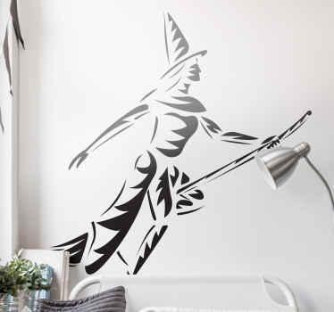 ハリーポーターの魔法のステッカーのコレクションからの素晴らしい子供の寝室の壁のステッカー。デザインは、ほうきで飛んでいる飛行ウィザードを示しています。