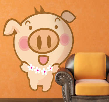 A funny wall sticker illustrating a Hawaiian pig with a necklace of flowers dancing and singing! Great animal decal for the little ones at home.