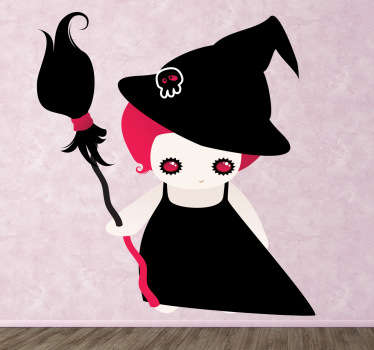 A lovely halloween wall sticker illustrating a little girl dressed as a witch with pink hair and accessories.