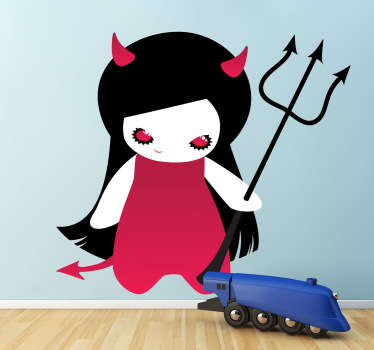 A halloween wall sticker illustrating a gothic demon with pink horns and trident. Great kids decal for a halloween theme party.
