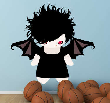 A monster wall sticker illustrating a gothic female bat. Great halloween decal to decorate your children's bedroom or play area.