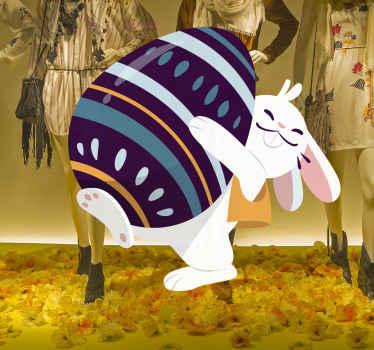 stickers vitres joyeux lapin de pâques pour décorer un espace de magasin. Cette heureuse illustration animerait votre espace