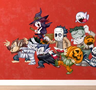 Mural de parede infantil fantasmas e monstros