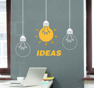 Ideas light bulb office sticker!. Suitable to decorate any space of interest and really easy to install. It illustrates three hanging light bulbs.
