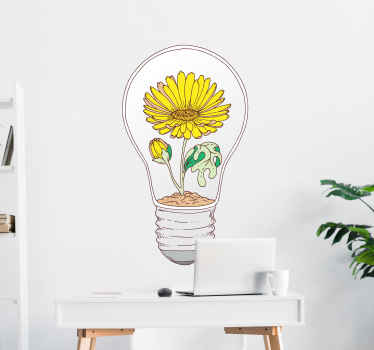 Sunflower light bulb abstract wall sticker to enhance the look and appearance on any space. Available in nay custom size, easy to apply and durable.