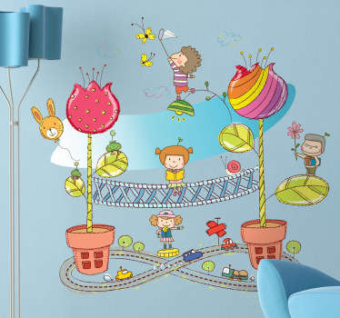 Kids Wall Stickers - Playful and fun illustration of a small fantasy city. Colourful and vibrant feature for children. Available in various sizes.