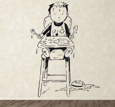 Kids Wall Stickers - Illustration of a little boy sitting in a high chair making a big mess. Ideal for decorating areas for children.