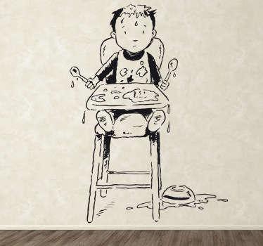 Kinderen jongen hoge stoel eten sticker