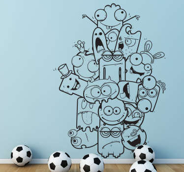 A monster wall sticker illustrating a pile of different creatures! Great kids decal to decorate their playroom. You can now personalise your child's room with this monochrome design that is available in a wide range of colours.
