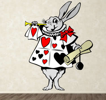 Vinilo infantil conejo corneta Alicia