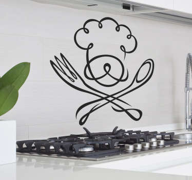 Kitchen Wall Stickers - Chef theme design to decorate your kitchen cupboards, walls or appliances.