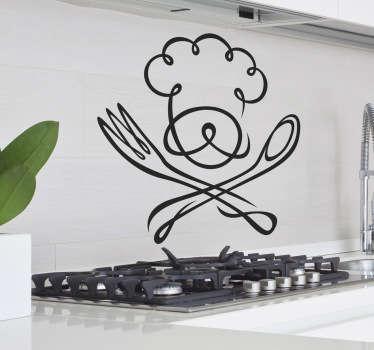 Sticker decorativo chefe de cozinha e talheres