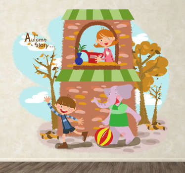 Kids Autumn Elephant Wall Sticker