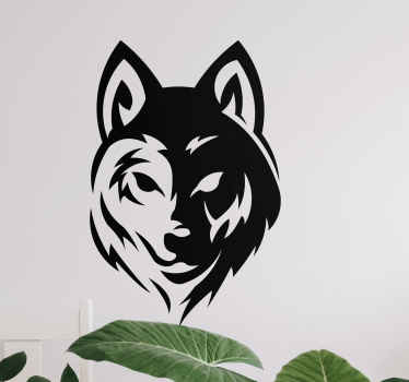 Mono color wolf face wild animal decal - You can customize it in any one of the colours available provided. It can be applied on wall, door, etc.