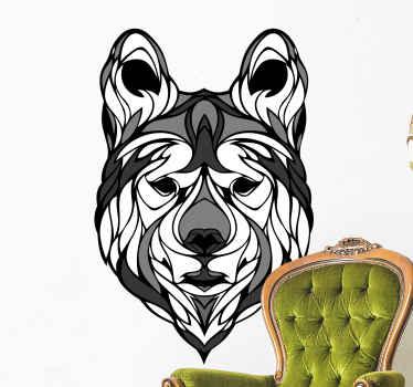 Sticker animal loup noir et blanc qui peut être décoré sur un mur, des meubles et toute surface. Il peut être acheté dans n'importe quelle taille.