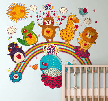 A design full of fun and many friendly animals standing on a rainbow from our collection of rainbow wall stickers for children.