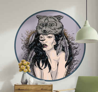 A lovely wolf woman illustration sticker. This can be decorated on any space in a house and on other spaces. Made of quality material and durable.
