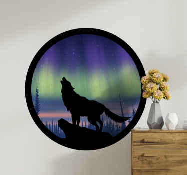 Quality adhesive vinyl wall decal illustrating a wolf howling in the jungle at sun down. Very lovely graphic wild animal sticker to customize a space.