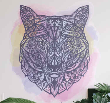Watercolor tribal artistic wild animal's head decal design decoration for home, for office, spa, saloon, shop, etc. Easy to apply and original.