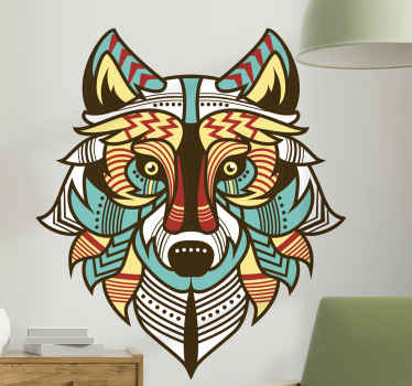 A wild animal sticker design made in a creative ethical art style.  It would improve a space with a touch of tribal art and aura.