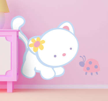 A cute animal wall sticker of an adorable friendship between a cat and a ladybird. The cat wall sticker is ideal to decorate girls bedrooms with.