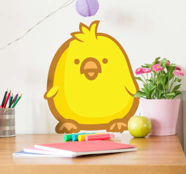 Decals - Playful and adorable illustration of a golden yellow baby chicken. Ideal for decorating kids; bedrooms and nurseries
