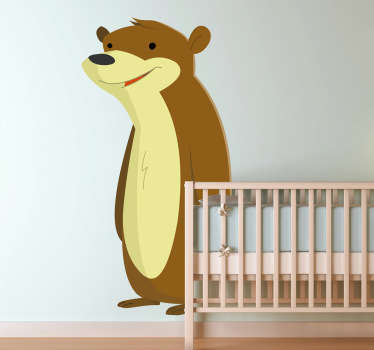 Kids Wall Stickers - Illustration of a friendly happy bear. Fun feature for bedrooms and play areas. Available in various sizes.