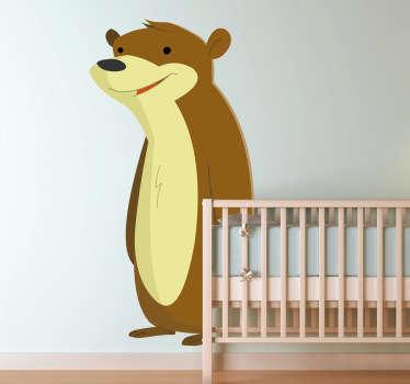 Vinilo infantil marmota río