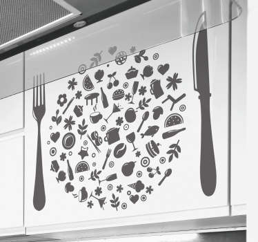 Kitchen Wall Stickers - Illustration collage of various kitchen utensils and food. The kitchen utensil sticker will decorate and add colour to your kitchen,