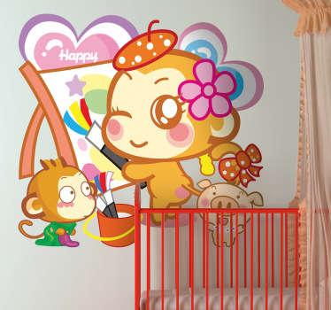 Sticker decorativo raffigurante una giovane scimmietta mentre dipinge un quadro in compagnia di un cucciolo e di un porcellino.