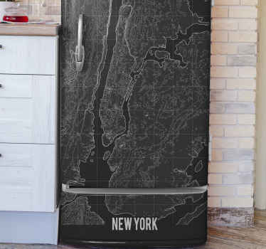 Wrap the surface of your fridge door with our original and lovely Topographic New York fridge sticker. It is durable and self adhesive.