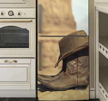 Vinilo para refrigerador de botas y sombrero de vaquero para personalizar la puerta de una nevera ¡Medidas personalizables! ¡Envío exprés!