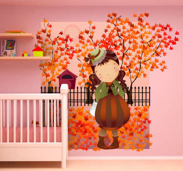 Sticker decorativo bimba autunno