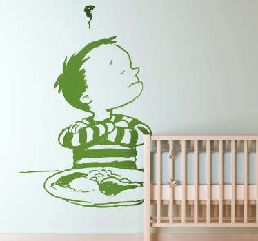 Kids Wall Stickers - Illustration of a little stubborn naughty boy refusing to eat his dinner. Ideal for decorating areas for children.