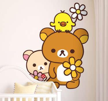 Sticker enfant ours et poussin