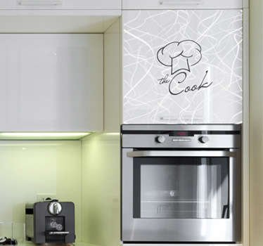 Kitchen wall sticker for the master chef in the house. Monochrome cook wall sticker for setting the atmosphere for preparing, cooking and eating food in your kitchen, available in various sizes and colours to personalise your home in a unique and interesting way.