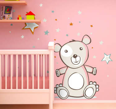 A loving teddy bear among the stars from our teddy bear wall stickers collection to decorate your child's nursery or bedroom.