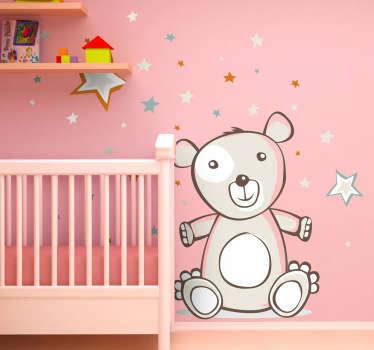 Sticker enfant ours en peluche sous nuit étoilée